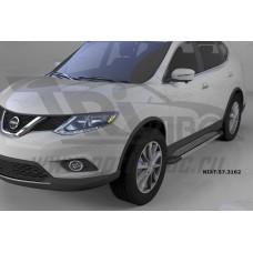 Пороги алюминиевые (Topaz) Nissan X-Trail (2014-)