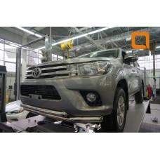 Защита переднего бампера Toyota Hilux (2015-) (двойная) d76/60