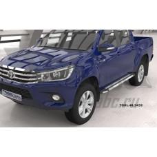 Пороги алюминиевые (Brillant) Toyota HiLux (2015-) (серебр)