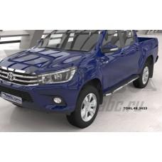 Пороги алюминиевые (Brillant) Toyota HiLux (2015-) (черн/нерж)