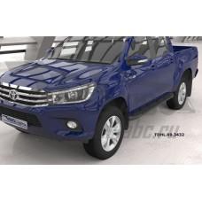 Пороги алюминиевые (Corund Black) Toyota HiLux (2015-)