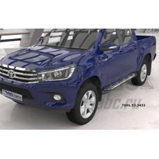 Пороги алюминиевые (Corund Silver) Toyota HiLux (2015-)