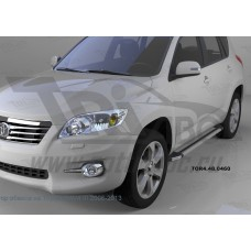 Пороги алюминиевые (Brillant) Toyota RAV4 (Тойота РАВ4) (короткая база) (2006-2013) (серебр)