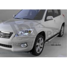 Пороги алюминиевые (Brillant) Toyota RAV4 (Тойота РАВ4) (короткая база) (2006-2013) (черн/нерж)
