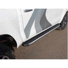 Пороги алюминиевые с пластиковой накладкой (карбон серебро) 1920 мм код TOYHILUX15-12SL