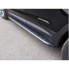 Пороги алюминиевые с пластиковой накладкой (карбон серебро) 1720 мм код HYUNTUC15-10SL