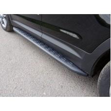 Пороги алюминиевые с пластиковой накладкой (карбон черные) 1720 мм код HYUNCRE16-06BL