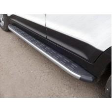 Пороги алюминиевые с пластиковой накладкой (карбон серебро) 1720 мм код HYUNCRE16-06SL