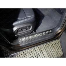 Накладки на пластиковые пороги (лист шлифованный логотип audi) код AUDIQ513-10