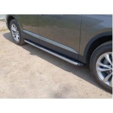 Пороги алюминиевые с пластиковой накладкой (карбон серебро) 2020 мм код AUDIQ715-01SL