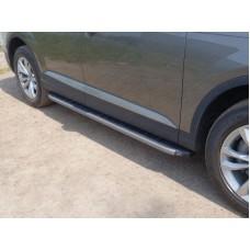 Пороги алюминиевые с пластиковой накладкой (карбон серые) 2020 мм код AUDIQ715-01GR