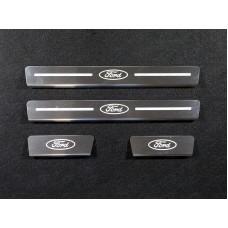 Накладки на пороги (лист зеркальный логотип Ford) код FORKUG17-09