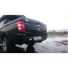 Бампер АВС-Дизайн задний с квадратом под фаркоп Mitsubishi L200 2015-/Fiat Fullback (2016-) (чёрный)