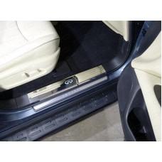 Накладки на пластиковые пороги (лист зеркальный логотип Infiniti) код INFQX6016-07