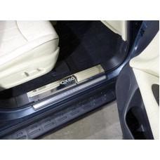 Накладки на пластиковые пороги (лист зеркальный надпись QX 60) код INFQX6016-03