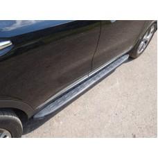 Пороги алюминиевые с пластиковой накладкой (карбон черные) 1820 мм код KIASORPR18-26BL