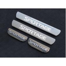Накладки на пороги (лист зеркальный надпись Sportage) код KIASPORT16-36