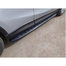 Пороги алюминиевые с пластиковой накладкой (карбон черные) 1720 мм код MAZCX515-16BL