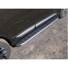 Пороги алюминиевые с пластиковой накладкой (карбон серебро) 1720 мм код MITOUT15-17SL