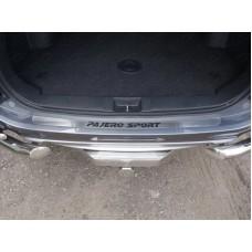 Накладка на задний бампер (лист шлифованный надпись Pajero Sport ) код MITPASPOR16-08