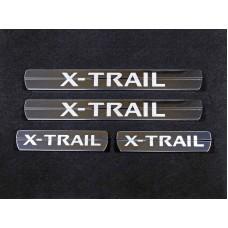 Накладки на пороги (лист зеркальный надпись X-Trail) код NISXTR15-29