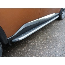 Пороги алюминиевые с пластиковой накладкой (карбон серебро) 1820 мм код NISMUR16-19SL