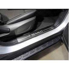 Накладки на пластиковые пороги (лист шлифованный надпись Renault) 2шт код RENKOL17-10