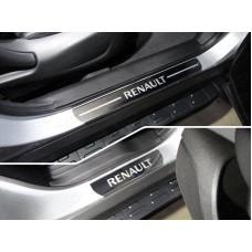 Накладки на пороги (лист зеркальный надпись Renault) 4шт код RENKOL17-03