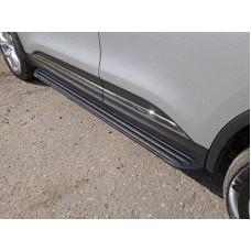 Пороги алюминиевые `Slim Line Black` 1720 мм код RENKOL17-33S