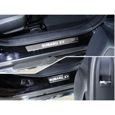 Накладки на пороги (лист зеркальный надпись Subaru XV) 4шт код SUBXV17-27