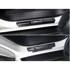Накладки на пороги (лист зеркальный надпись Toyota) 4шт код TOYFORT17-03