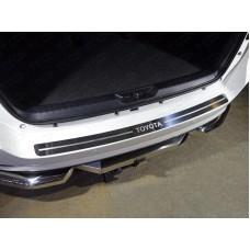 Накладка на задний бампер (лист зеркальный надпись Toyota) код TOYFORT17-09