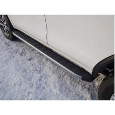 Пороги алюминиевые с пластиковой накладкой (карбон серебро) 1820 мм код TOYFORT17-30SL