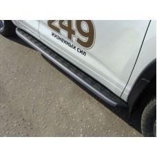 Пороги алюминиевые с пластиковой накладкой (карбон черные) 1820 мм код TOYHIGHL17-38BL