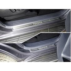 Накладки на пластиковые пороги (лист шлифованный надпись Toyota) 4шт код TOYLC15017-26