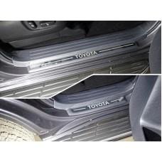 Накладки на пластиковые пороги (лист зеркальный надпись Toyota) 4шт код TOYLC15017-25