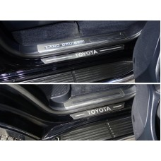 Накладки на пороги (лист шлифованный надпись Toyota) 4шт код TOYLC200EX16-33