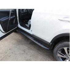 Пороги алюминиевые с пластиковой накладкой (карбон черные) 1720 мм код TOYRAV15-19BL