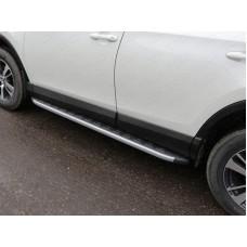 Пороги алюминиевые с пластиковой накладкой (карбон серебро) 1720 мм код TOYRAV15-19SL