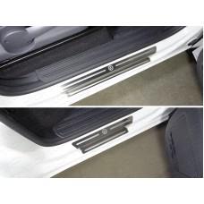 Накладки на пороги (лист шлифованный логотип Volkswagen) код VWAMAR17-46