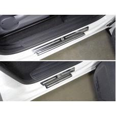 Накладки на пороги (лист зеркальный логотип Volkswagen) код VWAMAR17-45