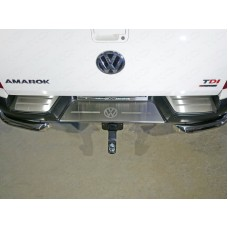 Накладки на задний бампер (лист шлифованный логотип Volkswagen) код VWAMAR17-54