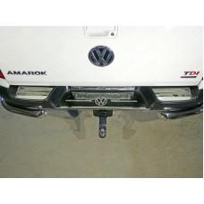 Накладки на задний бампер (лист зеркальный логотип Volkswagen) код VWAMAR17-53