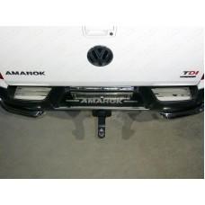 Накладки на задний бампер (лист зеркальный надпись Amarok) код VWAMAR17-49