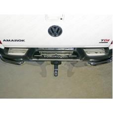Накладки на задний бампер (лист зеркальный надпись Volkswagen) код VWAMAR17-51