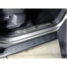 Накладки на пластиковые пороги (лист шлифованный надпись Volkswagen) 2шт код VWTIG17-25
