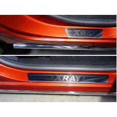 Накладки на пороги (лист зеркальный надпись XRAY) код LADXRAY16-04