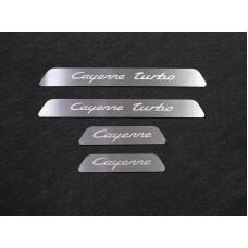 Накладки на пластиковые пороги вставка (лист шлифорванный Cayenne Turbo) 4 шт. PORSCAY18-10