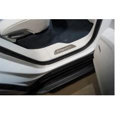 Накладки на пластиковые пороги вставка (лист зеркальный Cayenne Turbo) 4 шт. PORSCAY18-09
